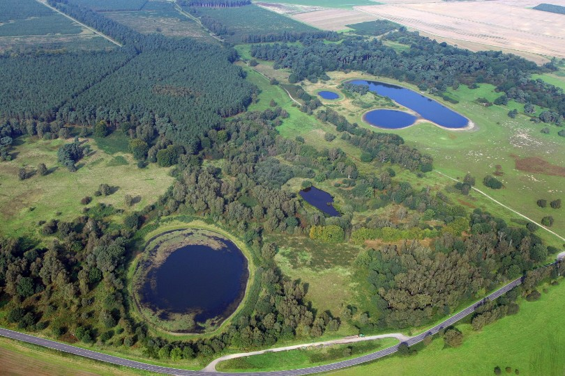 Aerial Photograph of the Meres at NWT East Wretham Heath, Mike Page
