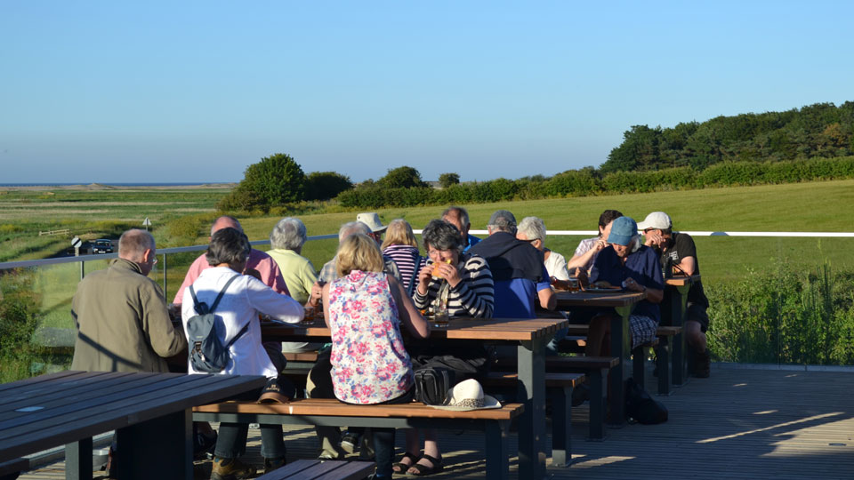 Evening Stroll & BBQ | Join us for an evening wander on the reserve, led by one of our knowledgeable guides, followed by a barbecue on the terrace, which offers fantastic views across the marsh. - Dalegate Market | Shopping & Café, Burnham Deepdale, North Norfolk Coast, England, UK